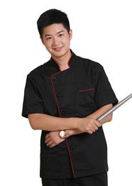 全棉黑色短袖厨师服TMCSF-001