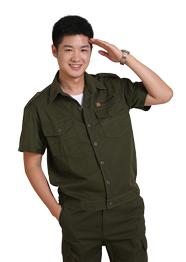 短袖工作服军绿色TMYSDX-010