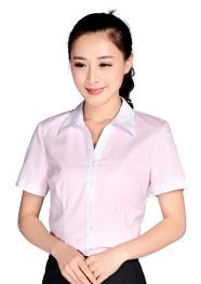 粉红色撞色短袖衬衣TMCS-003