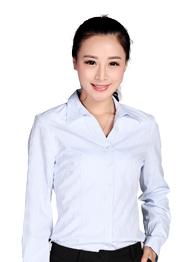竖条纹V领长袖衬衫TMCS-001