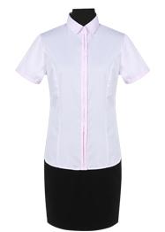 粉色斜纹CVC短袖衬衫TMNC508A