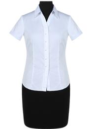 白色V领CVC衬衫短袖女装TMNC509B