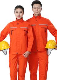 橘黄色带反光条工作服新款TM663-01