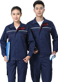 带反光条深蓝色套装工作服TM663-06