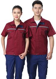 立领枣红色工作服TMX663-05
