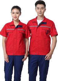 大红色带反光条工作服夏装TMX663-02