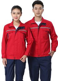 大红色带反光条工作服长袖新款TM663-04