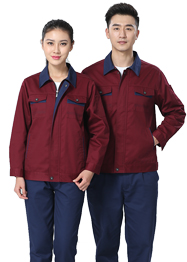 翻领枣红色工作服TM661-05